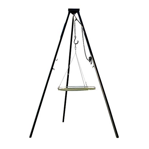 AKTIONA Massives 180 cm Stahl Dreibein Benny + Edelstahl Grill Ø 70 cm mit Seil nur 10 mm Lichter Stababstand Schwenkgrill massives Stahl-Dreibein auch für Gulaschkessel Gulaschtopf Schwenker BBQ