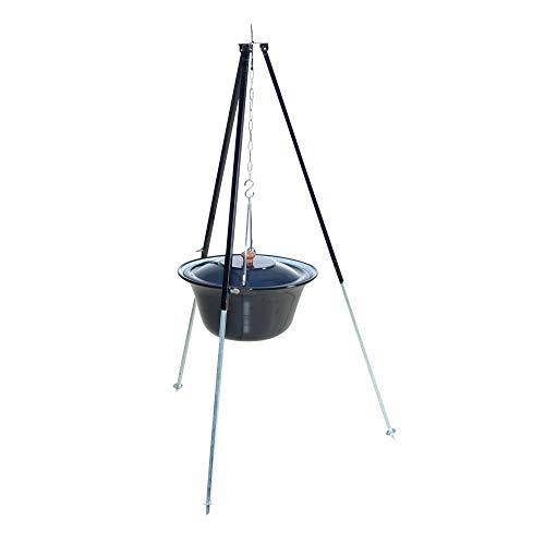 acerto 31178 Original ungarischer Gulaschkessel (10 Liter) + Dreibein-Gestell (120cm) * Emailliert * Kratzfest * Geschmacksneutral   Teleskop-Dreifuß mit Gulasch-Topf, Suppentopf, Glühweintopf