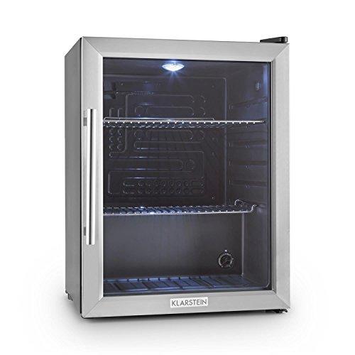 Klarstein Beersafe - Minibar, Mini-Kühlschrank, Getränkekühlschrank, leise, 42 dB, Edelstahl, Flaschenkühlschrank mit Glastür, 5-stufiger Temperaturregler, Bierkühlschrank 60 Liter, Silber-schwarz