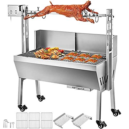VEVOR Tisch Spießbratengrill mit Grillmotor für Hähnchen Lamm, Rind oder Rollbraten, BBQ Spießgrill mit höhenverstellbarer Spieß für bis zu 60 kg Grillgut, Grillfläche Holzkohlegrill: ca. 88 x 44 cm
