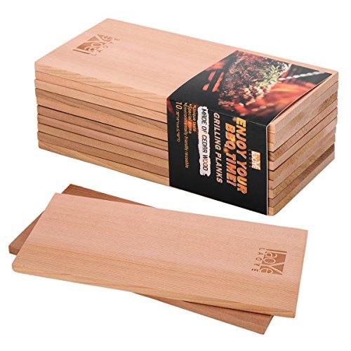 LAOYE 10 Stück Grillbrett Zedernholz XXL Räucherbretter Zum Grillen, (30 x 14 x 1 cm) Grillplanken aus 100% originalem kanadischen Western Red Cedar, Zedernholzbrett zum Grillen